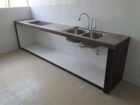 Kitchen Concrete Table Top With Tiles And Embedded Double