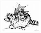 Raccoon Coloring Formation sketch template