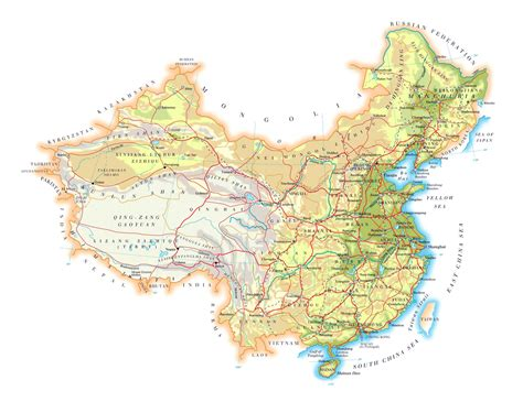 large elevation map  china  roads cities