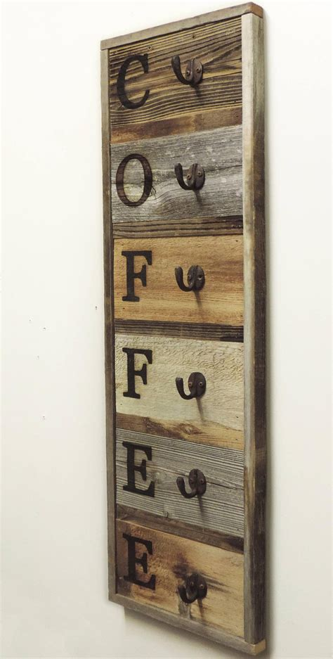 Browse and get inspired by our homeware & daily use catalog. Vertical Barnwood Coffee Mug Rack Wall Mounted, Wooden ...
