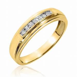 1 2 ct tw diamond trio matching wedding ring set 10k With gold matching wedding rings