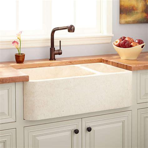 double basin farmhouse sink 33 quot polished marble 70 30 offset double bowl farmhouse