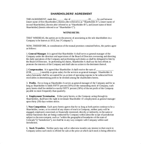 Simple Shareholders Agreement Template by 13 Shareholder Agreement Templates Free Sle Exle