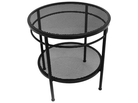 Meadowcraft Cove Wrought Iron 20 Round Two Tier End Table