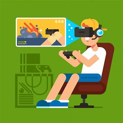 Gaming Games Playing Vector Vr Illustration Violent