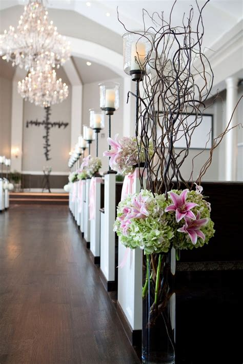 Aisle Candles Wflowers Church Wedding Decorations