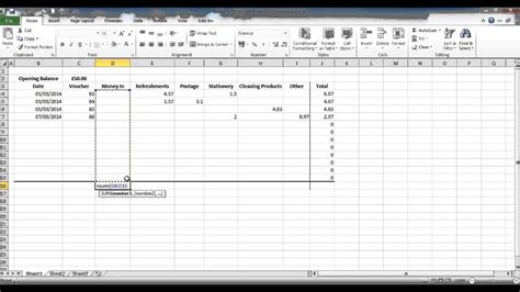 create  petty cash spread sheet  excel part