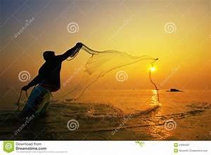Throwing Fishing Net During Sunset Royalty Free Stock ...