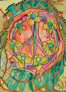 Just Give Me Peace: Love Grows, Singleton Hippie Art