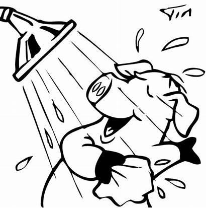 Shower Cartoon Taking Take Drawing Clipart Pig