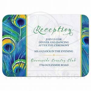 Peacock Feather Wedding Reception Card   Watercolor   Blue ...