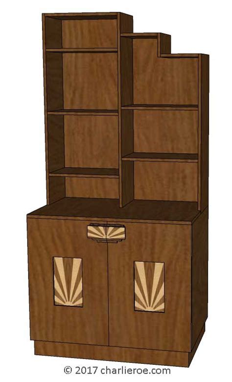 cabinet rising sun vintage new deco stepped skyscraper style bookcases display 5070