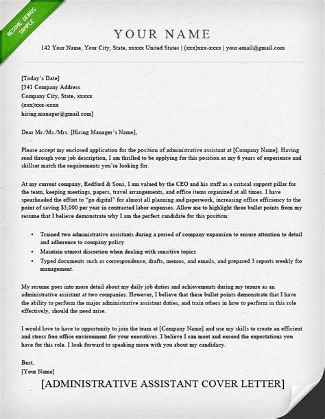 Administrative Assistant Cover Letter Sle by Cover Letter Exles Letters Free Sle Letters