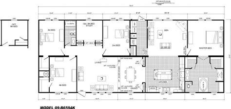 single floor home plans 4 bedroom floor plan b 6594 hawks homes manufactured