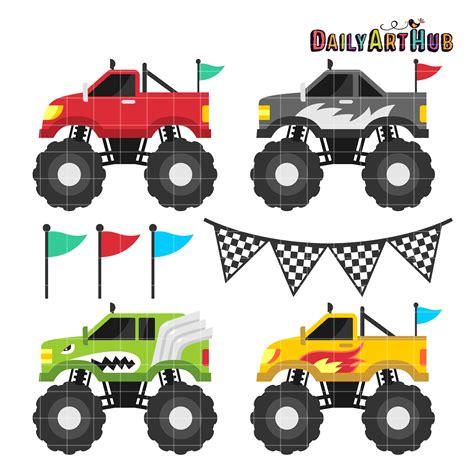 free monster truck video monster trucks clip art set daily art hub