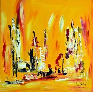 Tableau Peinture Moderne : tableau jaune abstrait moderne contemporain ~ Teatrodelosmanantiales.com Idées de Décoration