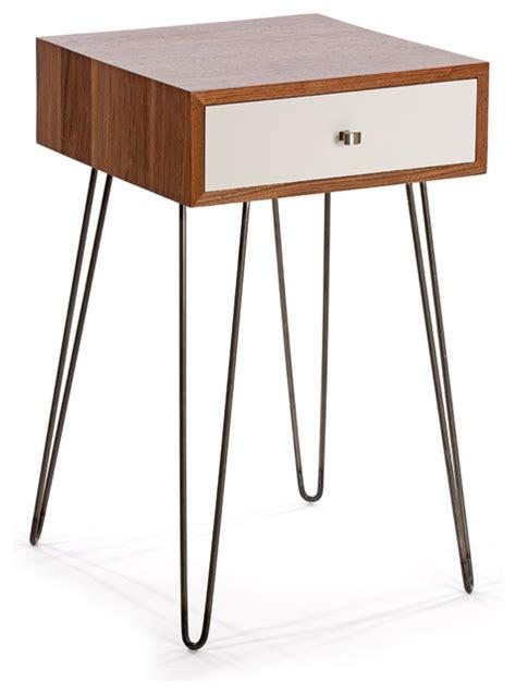 white mid century nightstand newton nightstand walnut white midcentury nightstands