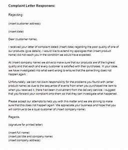 complaint letter response example rejecting just letter With replying to a complaint letter template