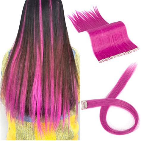 FLORATA 11PCS Straight Colored Clip in Hair Extensions ...