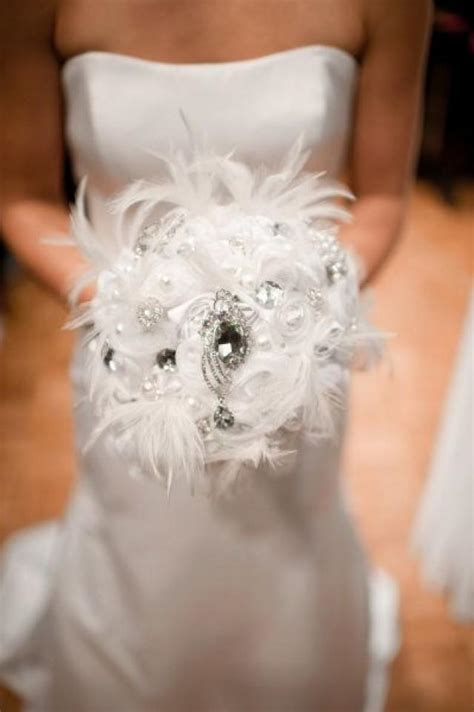 Great Gatsby Wedding Feather And Broach Bouquet 2054511
