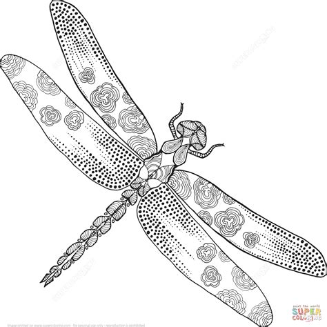 Zentangle Dragonfly Coloring Page Free Printable