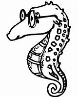 Seahorse Horse Coloring Sea Pages Glasses Print Getcoloringpages Cute Coloring2print sketch template