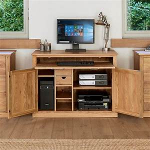 Mobel Oak Hidden Home Office Light Oak Finish Work Station