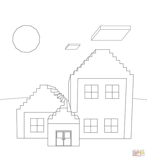 sta e colora minecraft minecraft house coloring page free printable coloring pages
