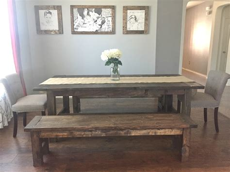 ana white farmhouse dining room table  benches