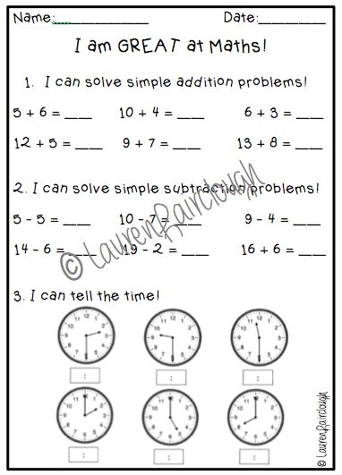 year one year two maths test literacy and numeracy