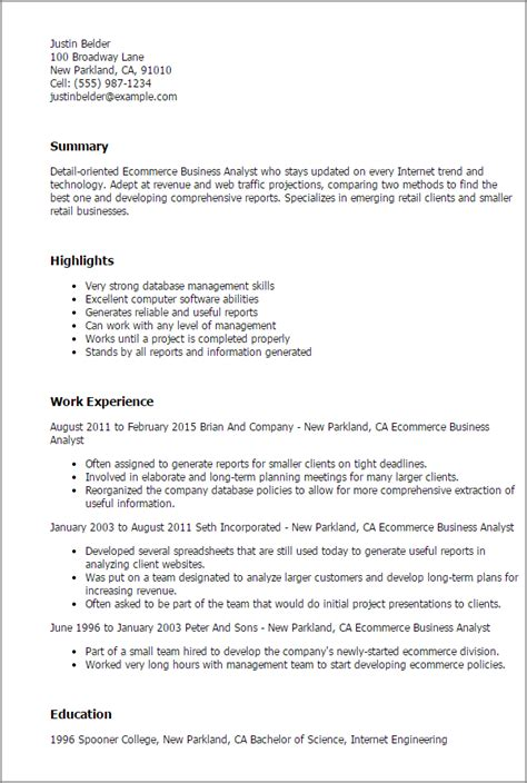 ecommerce business analyst resume template best design