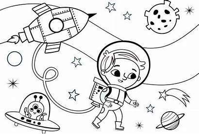 Coloring Space Vector Alien Illustration Pages Clip
