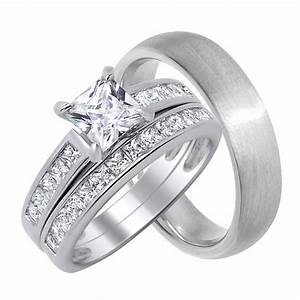 His And Her Wedding Rings Set Sterling Silver Wedding
