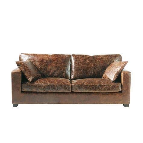 canapé cuir confortable canapé 3 places en cuir marron stanford maisons du monde