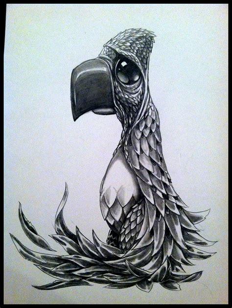 Sugar Skull Pencil Drawings of Bird