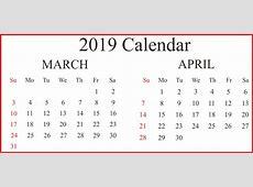 Free Editable March & April 2019 Printable Calendar