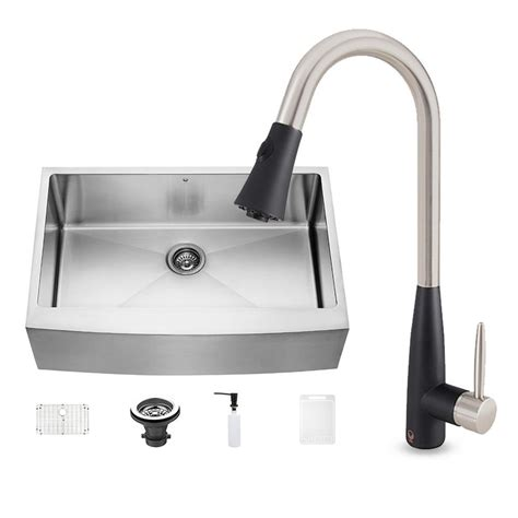 kitchen faucets for farmhouse sinks vigo all in one farmhouse stainless steel 33 in 0