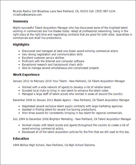 professional talent acquisition manager templates to
