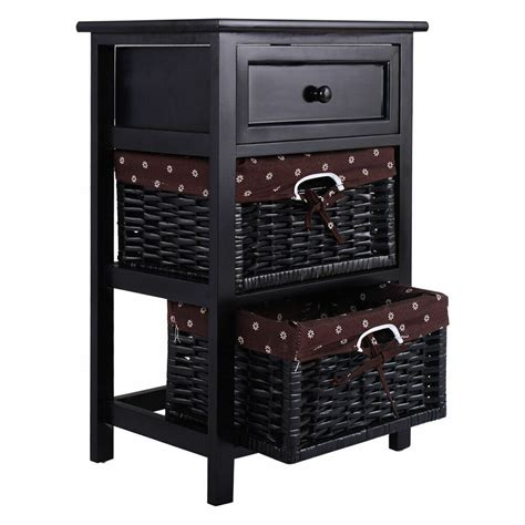 Nightstand With Baskets by Black Stand 3 Tiers 1 Drawer Bedside End Table