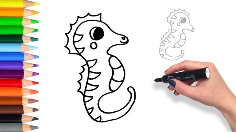 draw  sea horse teach drawing  kids