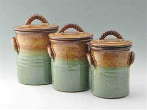 green kitchen canisters sets set of 3 lidded pottery canisters honey green