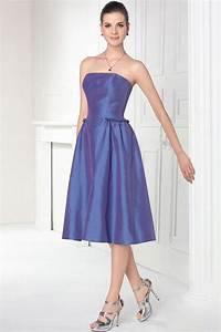 Robe Mi Longue Mariage : simple robe invit e mariage bleu violette mi longue en taffetas ~ Melissatoandfro.com Idées de Décoration