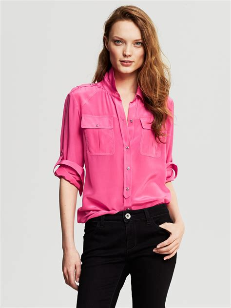banana republic silk blouse banana republic silk utility blouse pink lipstick in pink