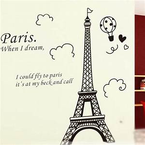eiffel tower wall sticker wall art decals vinyl wall With what kind of paint to use on kitchen cabinets for black and white eiffel tower wall art