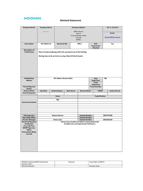 template method method statement 6 free templates in pdf word excel