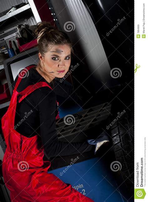 girl wearing mechanic uniform royalty  stock images