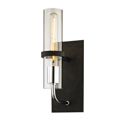 troy lighting xavier 1 light vintage iron 13 5 in h wall sconce with clear glass b6191 the