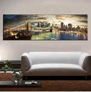 Living Room Canvas Art by Modern Landscape Painting The Brooklyn Bridge Canvas Prints Large Canvas Pain