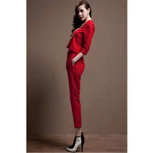 Woman's White Pant Suit with Red