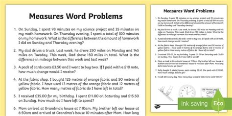 measure word problems activity sheet math word problems